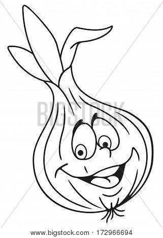 Cheerful fresh onion bulb cartoon character. On white background.