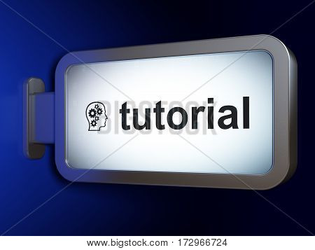 Studying concept: Tutorial and Head With Gears on advertising billboard background, 3D rendering