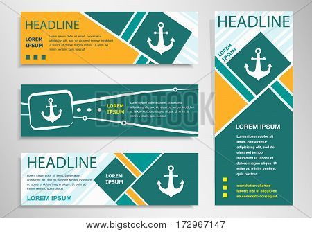 Anchor Icon On Horizontal And Vertical Discount Banner, Header