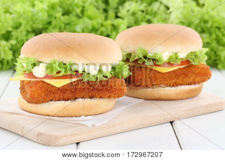 Fish Burger Fishburger Hamburger Fresh Tomatoes Lettuce Cheese