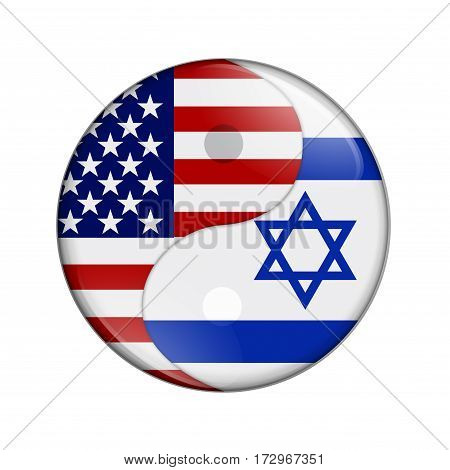 USA and Israel working together The US flag and Israeli flag on a yin yang symbol isolated over white 3D Illustration