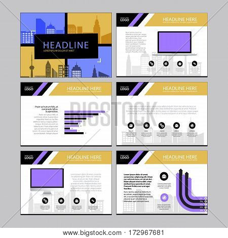Multipurpose template for presentation slides with graphs and charts