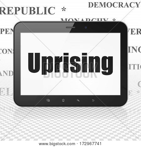 Political concept: Tablet Computer with  black text Uprising on display,  Tag Cloud background, 3D rendering