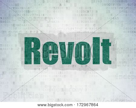 Politics concept: Painted green text Revolt on Digital Data Paper background with   Tag Cloud