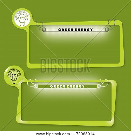 Set of two text boxes for your text and the words green energy