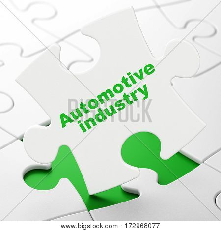 Manufacuring concept: Automotive Industry on White puzzle pieces background, 3D rendering