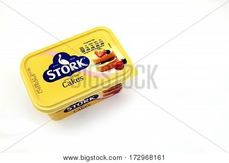 Camberley, Uk - Feb 22Nd 2017: Top View Of A Tub Of Stork Cakes Margarine, An Iconic Brand In The Uk