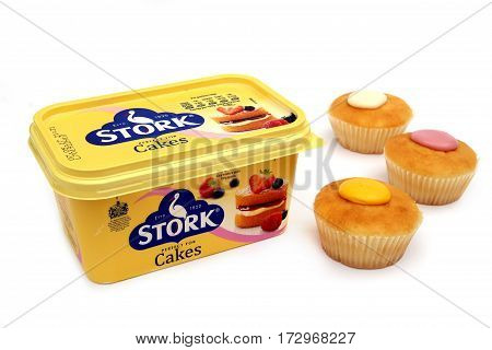 Camberley, Uk - Feb 22Nd 2017: A Tub Of Stork Cakes Margarine, With Three Cupcakes Or Fairy Cakes. S