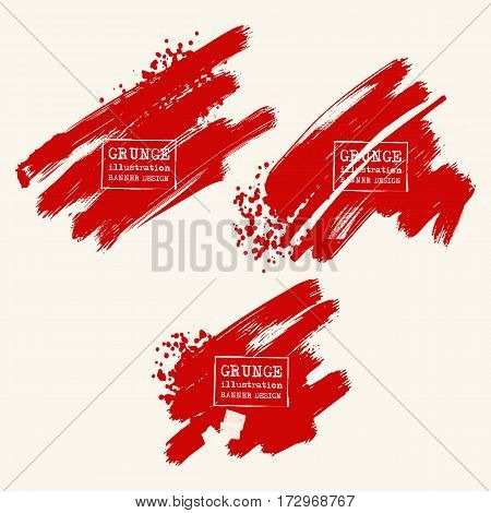 Vector set of blood red brush strokes. Grunge isolated elements. Smoke brushes for your design. Freehand. Watercolor splash. Acrylic stamp. Vector illustration