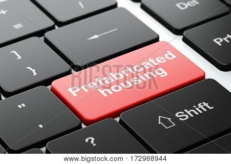Construction concept: computer keyboard with word Prefabricated Housing, selected focus on enter button background, 3D rendering