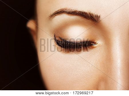 Beautiful Eyes Make Up Detail, Perfect Beauty Eyelashes. Closed Eyes