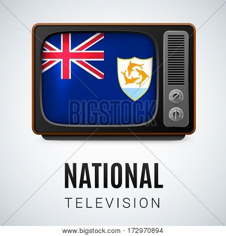 Vintage TV and Flag of Anguilla as Symbol National Television. Tele Receiver with Anguilla flag