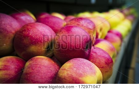 Large delicious apples, side view. A healthy and wholesome food