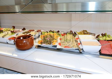 The salads and pasta in restaurant Mallorca island Spain