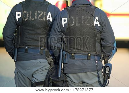 Italian Cops In Riot Gear With The Word Polizia Meaning Police I
