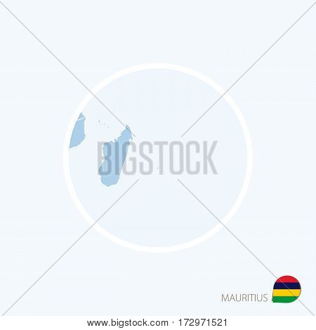 Map Icon Of Mauritius. Blue Map Of East Africa With Highlighted Mauritius In Red Color.