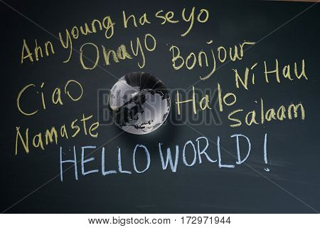glass globe with many language of Hello