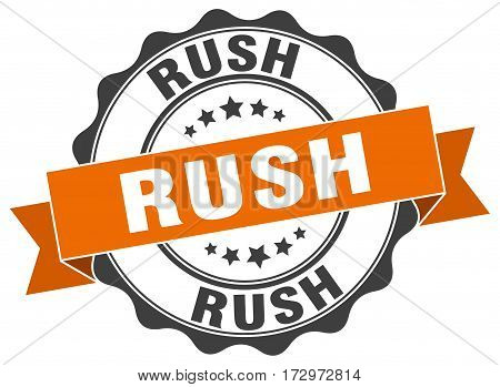 rush. stamp. sign. seal. round. retro. ribbon