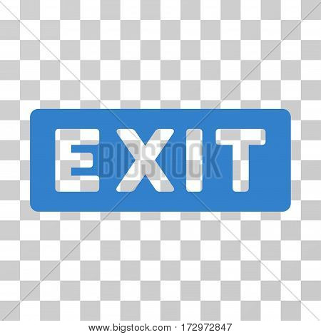 Exit Label vector pictograph. Illustration style is flat iconic cobalt symbol on a transparent background.