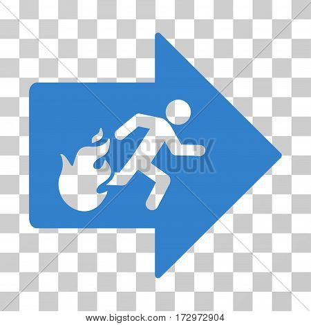 Fire Exit vector icon. Illustration style is flat iconic cobalt symbol on a transparent background.