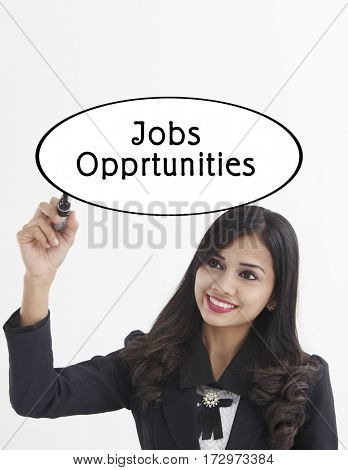 businesswoman holding a marker pen writing -job