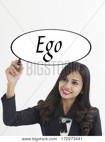 businesswoman holding a marker pen writing -ego