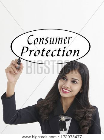 businesswoman holding a marker pen writing -consumer protection