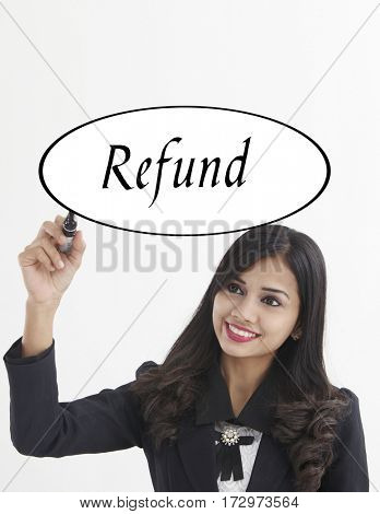businesswoman holding a marker pen writing -refund