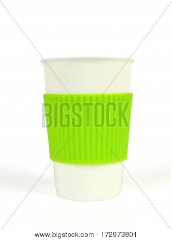 White Porcelain Cup With Thermo Sleeve