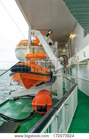 Lifeboat on deck of a cruise ship ferry