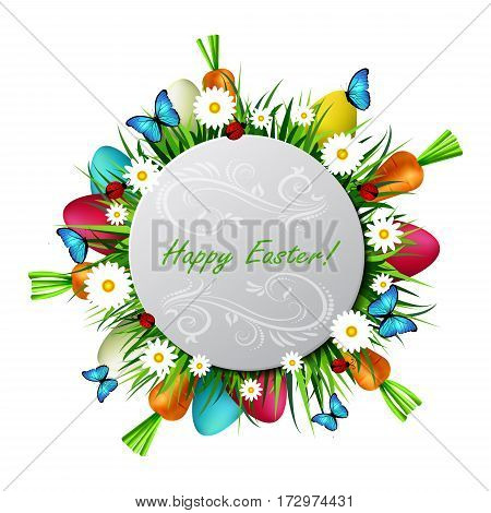Happy Easter card with eggs camomiles butterflies ladybugs carrots and grass