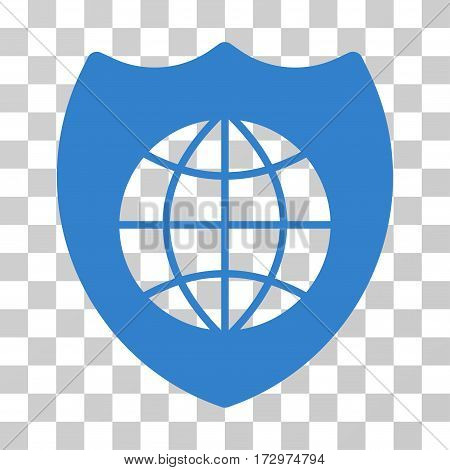 Global Shield vector icon. Illustration style is flat iconic cobalt symbol on a transparent background.