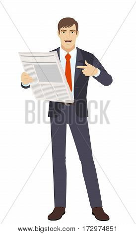 Businessman pointing at newspaper. Full length portrait of businessman in a flat style. Vector illustration.