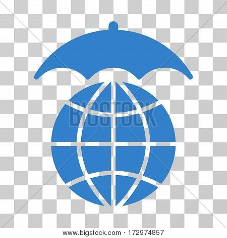 Global Umbrella vector pictogram. Illustration style is flat iconic cobalt symbol on a transparent background.