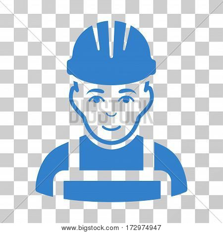 Happy Mechanic vector pictograph. Illustration style is flat iconic cobalt symbol on a transparent background.
