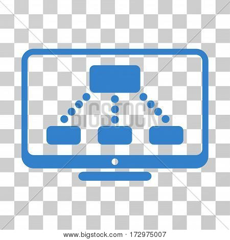 Hierarchy Monitor vector pictogram. Illustration style is flat iconic cobalt symbol on a transparent background.
