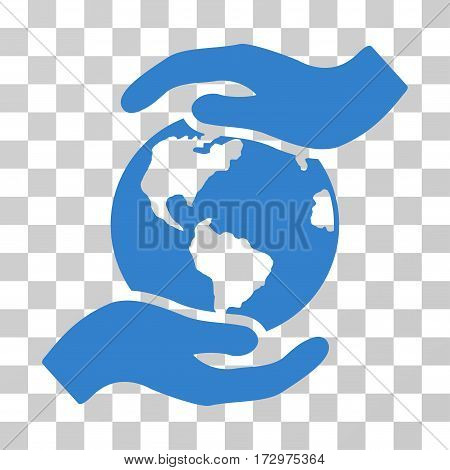 International Care vector icon. Illustration style is flat iconic cobalt symbol on a transparent background.
