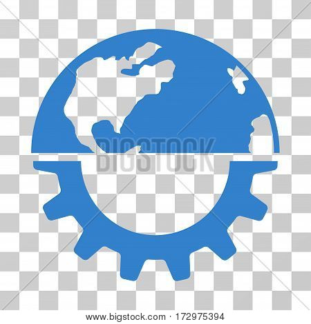 International Industry vector icon. Illustration style is flat iconic cobalt symbol on a transparent background.