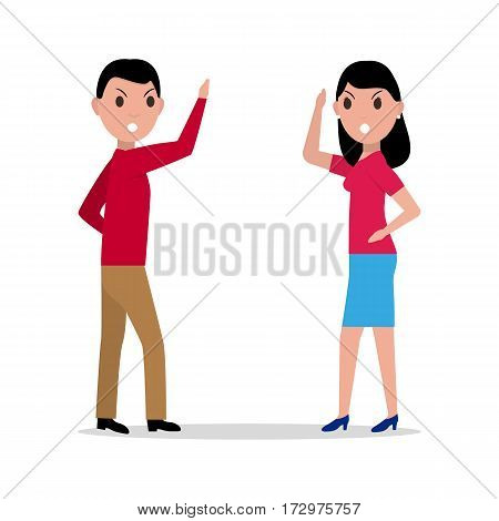 Vector illustration cartoon man woman quarreling. Angry couple argues. Fight husband wife. Girl boy squabble. Isolated white background. Flat style.