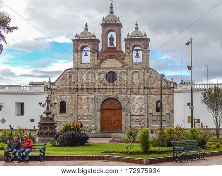 RIOBAMBA, ECUADOR, FEBRUARY - 2105 - Baroque style church at Maldonado square located at historic center of Riobamba city in Ecuador.