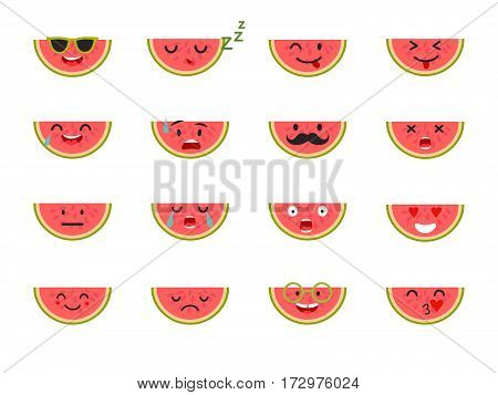 Watermelon with face. Emoticons fruit vector set. Cute emoji colorfull illustration. Watermelon flat cartoon style