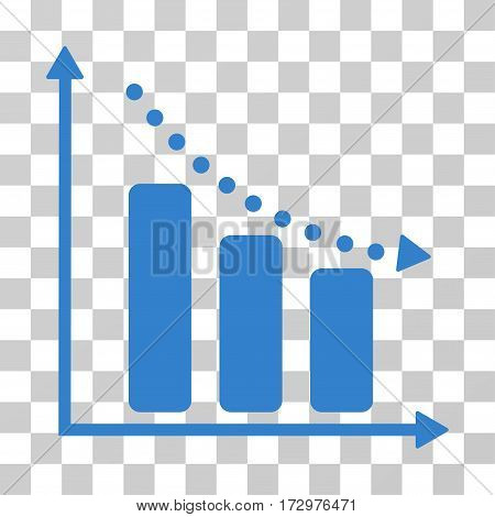 Negative Trend vector icon. Illustration style is flat iconic cobalt symbol on a transparent background.