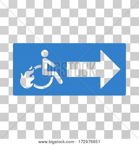Patient Exit vector pictogram. Illustration style is flat iconic cobalt symbol on a transparent background.