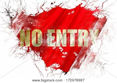 Grunge old no entry symbol flag