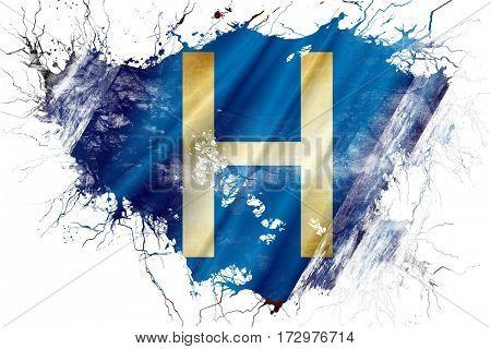 Grunge old hospital symbol flag
