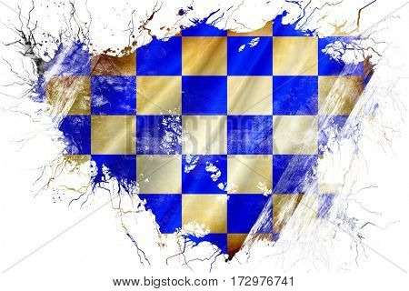 Grunge old chequered golf or racing  flag