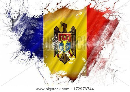 Grunge old Moldova  flag