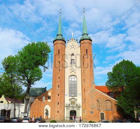 Gdansk Poland - 7 May 2015: Gdansk Oliwa Archcathedral.