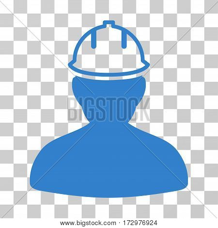 Person In Hardhat vector pictogram. Illustration style is flat iconic cobalt symbol on a transparent background.