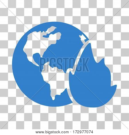 Planet Flame vector icon. Illustration style is flat iconic cobalt symbol on a transparent background.